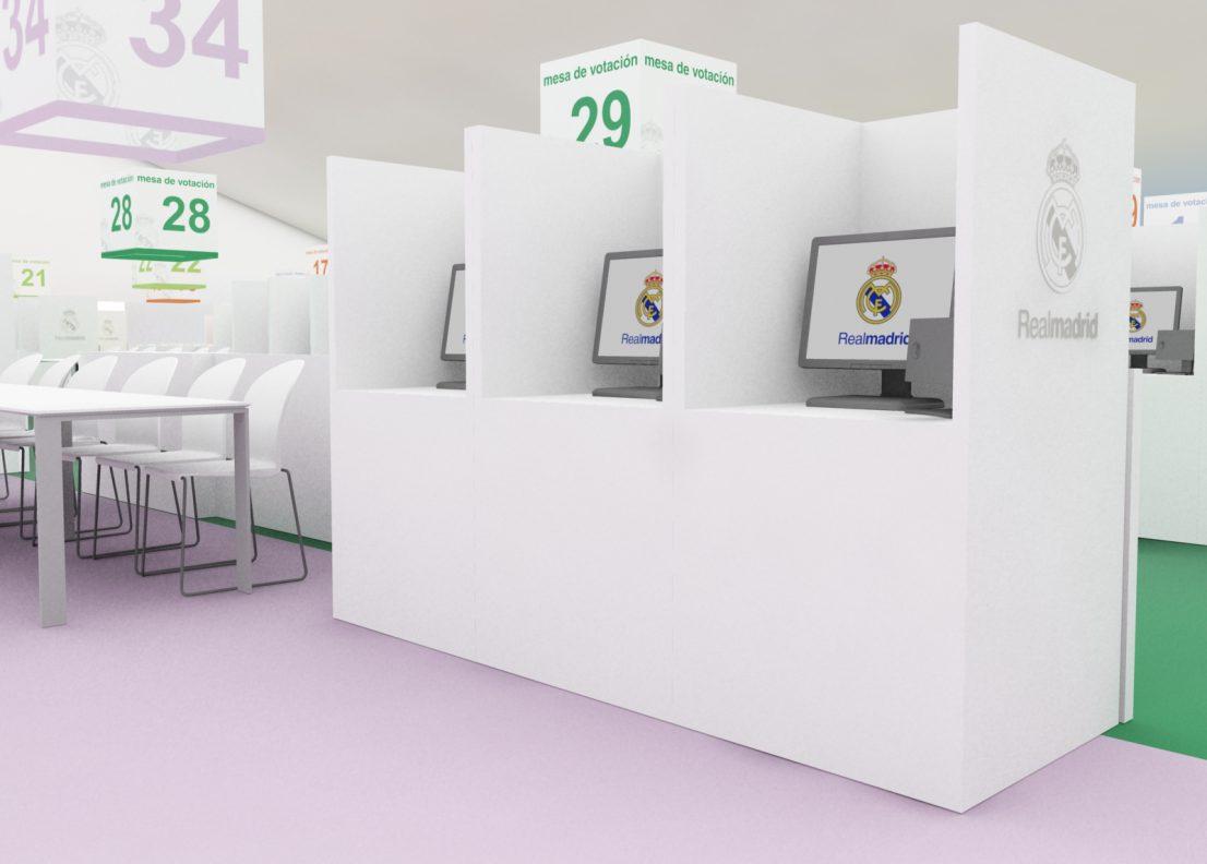 Diseno escenografia carpa votacion elecciones Real Madrid 2009