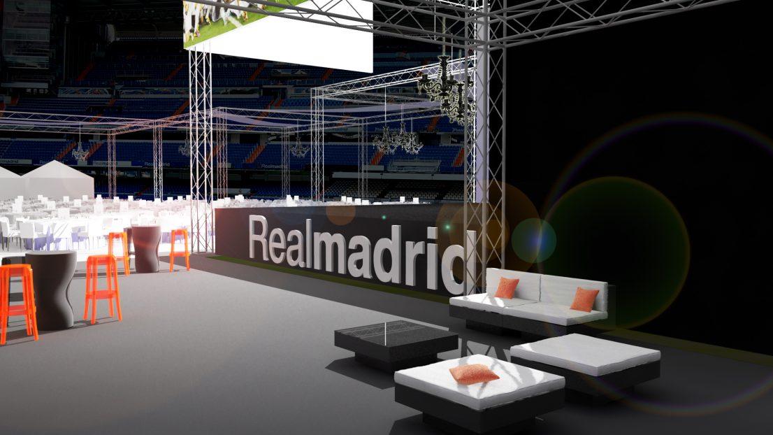 Diseno escenografia evento Fiesta Area VIP Real Madrid