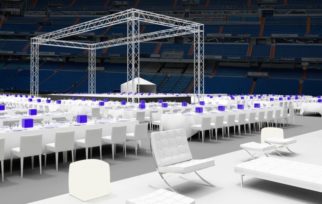 Escenografia evento Real Madrid cena de gala Santiago Bernabeu