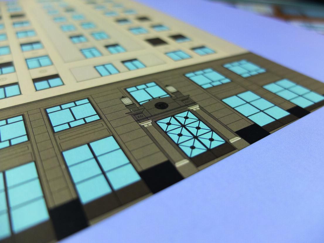 lamina-ilustracion-arquitectonica-fachada-edificio-banco-hispano-edificacion-romano